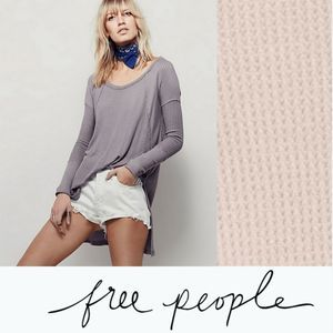 Free People M Ventura Thermal Waffle Tunic Hi-Low